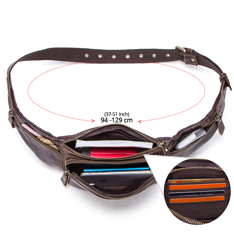 CONTACT'S cow leather men waist bag new casual small fanny pack male waist pack for cell phone and credit cards travel chest bag 3
