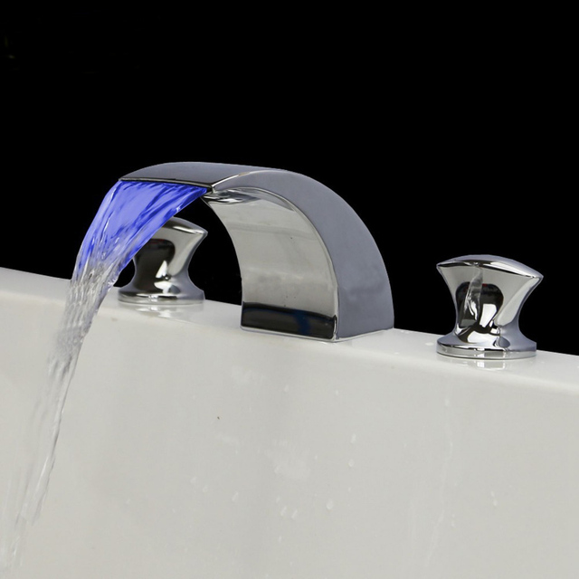 Temperature Controlled Faucet Led Light Waterfall Mixer Tap Sink - 3 piece bathroom sink faucet