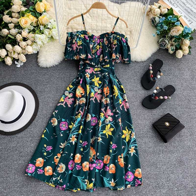 Boho Ruches Vintage Bloemenprint Zomer Off Shoulder Midi Lange Jurk Party Vrouwen Casual Spaghetti Beach Holiday Vestidos