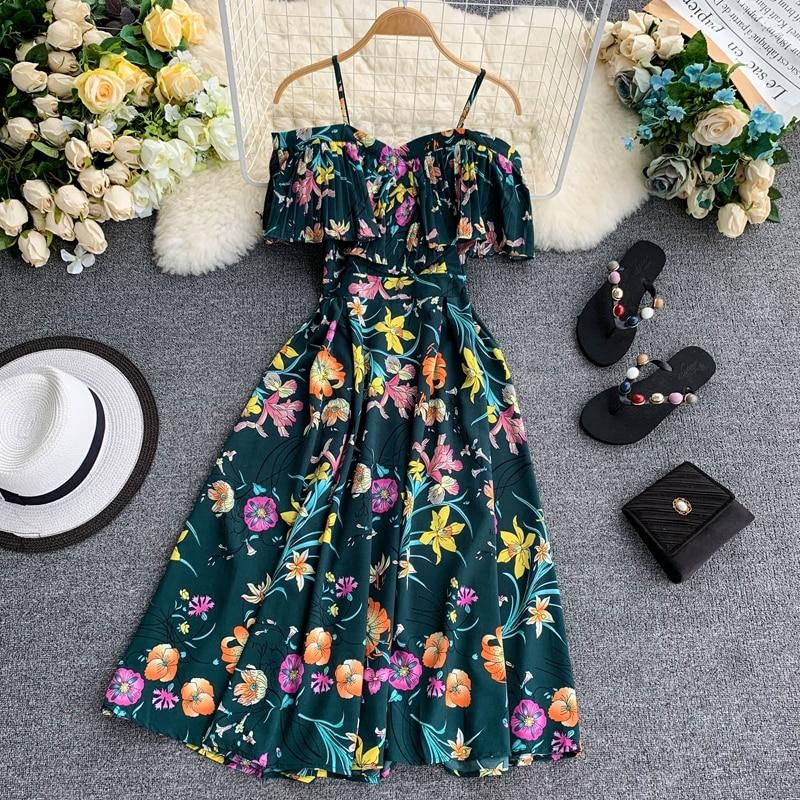 Boho Ruffles Vintage Floral Print Summer Off Shoulder Midi Long Dress Party Women Casual Spaghetti Strap Beach Holiday Vestidos