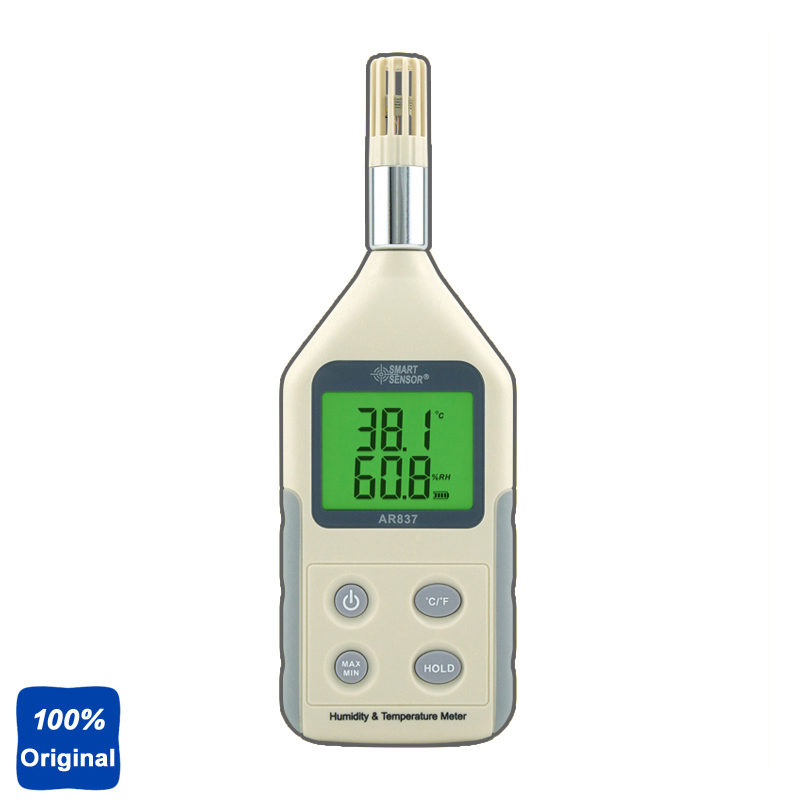 100% Original AR837 Digital Hygrometer Temperature Humidity Meter Tester digital indoor air quality carbon dioxide meter temperature rh humidity twa stel display 99 points made in taiwan co2 monitor