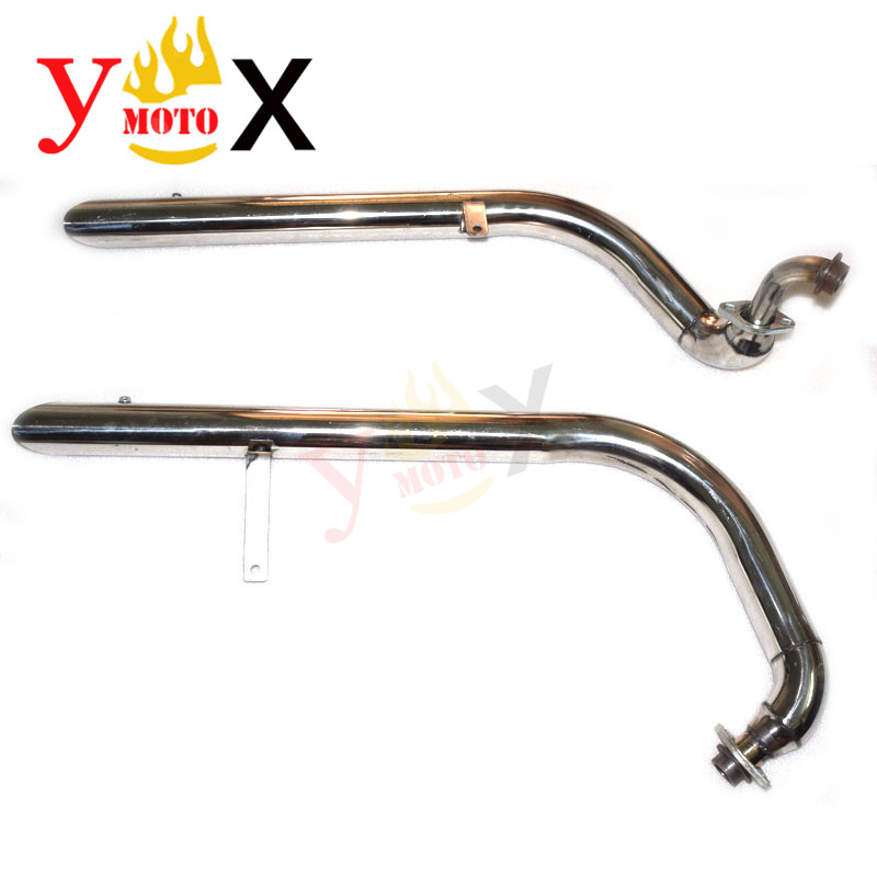 Motorcycle Exhaust Pipe W/ Silencers For Yamaha Virago V star XV250 XV 250 Slash Cut Pipes Muffler Tip Exhaust System+Silencers