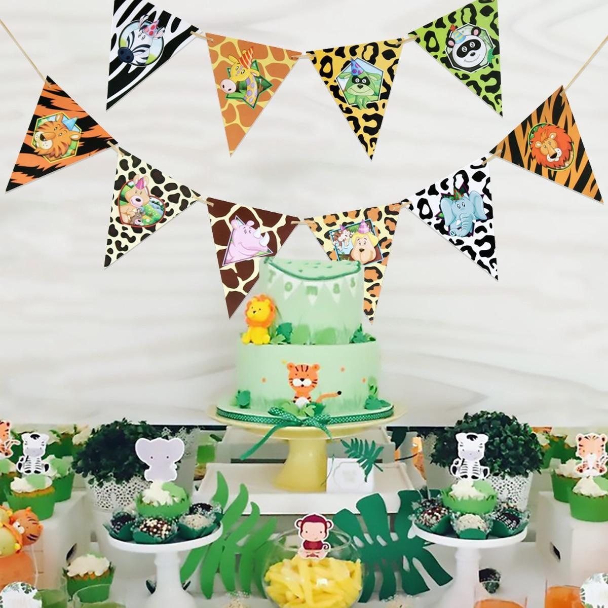 Safari festa de aniversário animais selva banner bolo toppers cupcake decoração feliz aniversário decorações festa de aniversário crianças favores menino