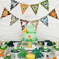 Safari Party Jungle Animal Birthday Banner Cake Toppers Cupcake Decor Happy Birthday Party Decorations Kids Party Favors Boy
