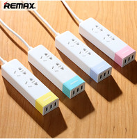 Remax RU S3 3 USB Mobile Phone Power Charger Adapter With 2 Sockets Strip 1 5