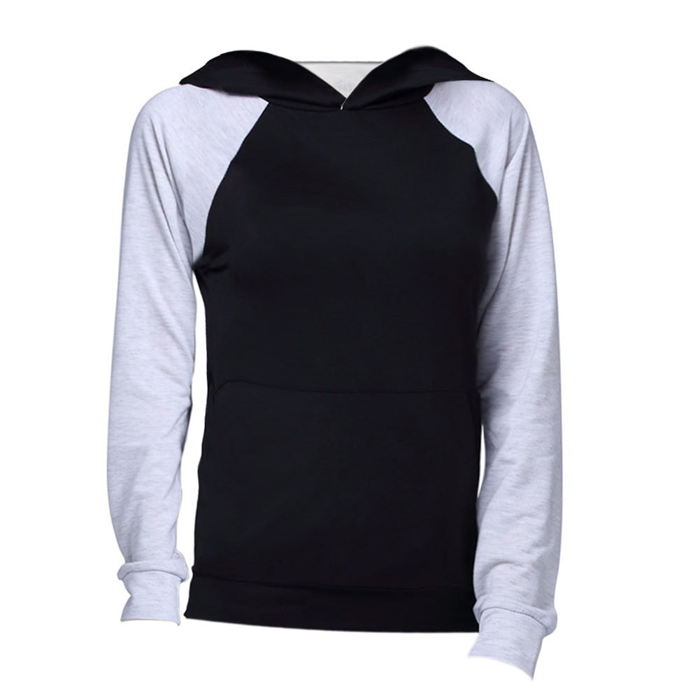Europe Women Clothing Long Sleeve Contrast color Casual Comfortable Material Hooded  Tops Clothes Black For Autumn Winter