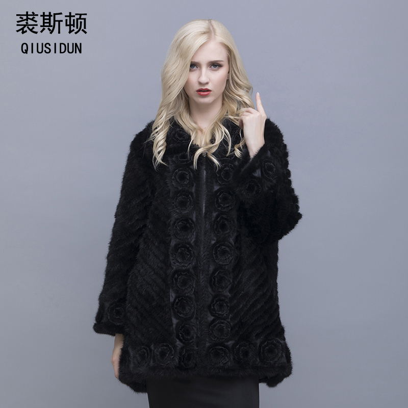 QIUSIDUN Genuine Pure Natural Mink Fur Long Sleeve Coat Fashion Winter Warm Large Size Flower Mink Oblique Thread Women's Coats