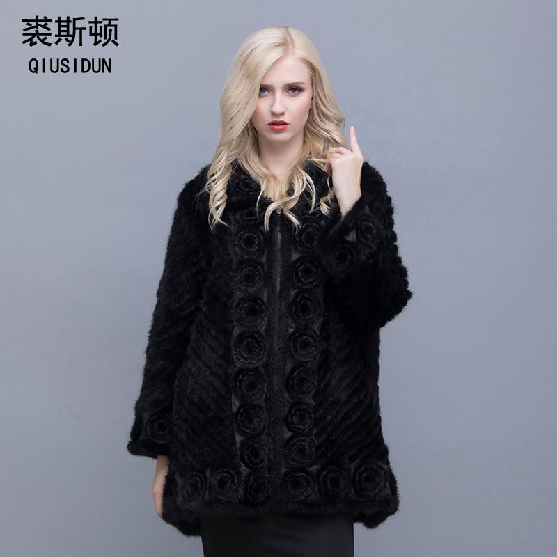 QIUSIDUN Genuine Pure Natural Mink Fur Long Sleeve Coat Fashion Winter Warm Large Size Flower Mink Oblique Thread Women's Coats