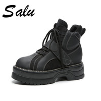 Salu 2018 new Womens Boots microfiber Ladies Ankle Boots Flat Leather Ankle Boots Spring Autumn Female Footwear