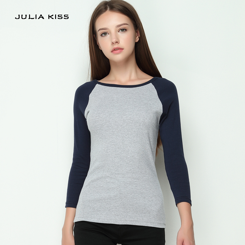 Classic Apparel women's t shirt Patchwork Tee camisetas femininas ropa mujer Contrast Sleeve Raglan sleeve Tops