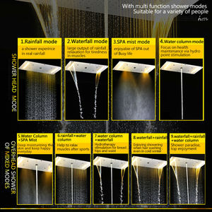 Image 2 - Zestaw prysznicowy łazienkowy akcesoria kran Panel dotknij ciepła i zimna woda mikser LED sufitowa głowica prysznicowa opady deszczu prysznic wodospad hm
