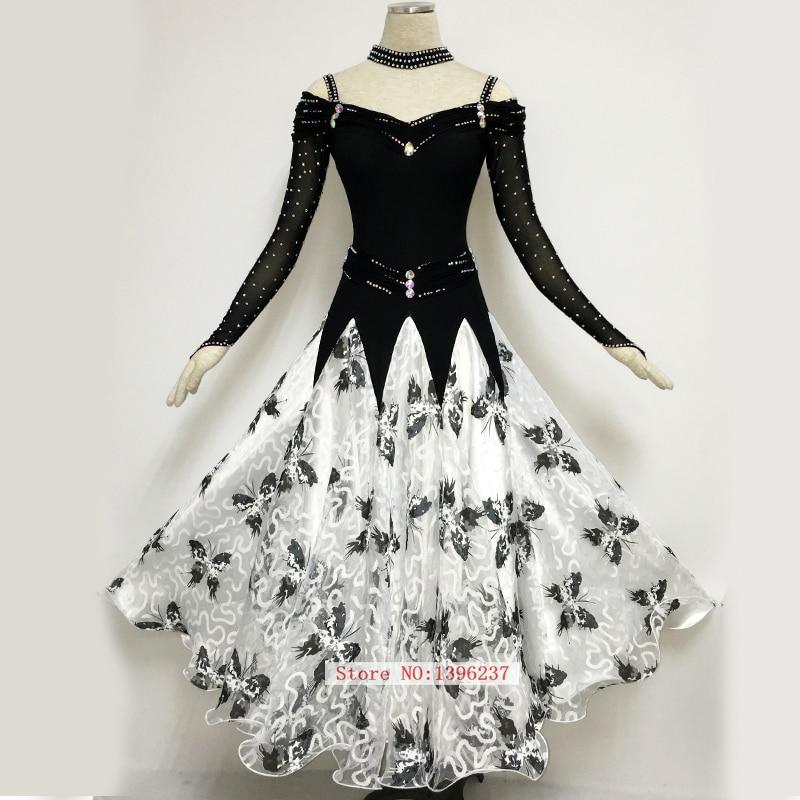 ჱWomen Ballroom Dancing Dresses Luxury Black White Tango Waltz ...