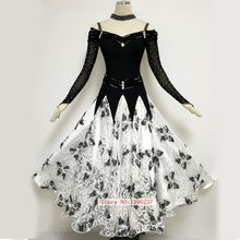 Women Ballroom Dancing Dresses Luxury Black White Tango Waltz Stage Performance Costume Lady Ballroom Competition Dress