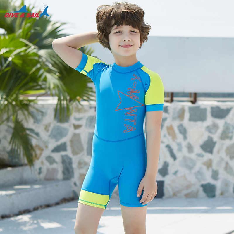 8679b3e19ee87 ... Kids One Piece Surfing UV Protection Swimsuit Diving Bathing Suits Boys  Girls Neoprene Scuba Triathlon Snorkel ...