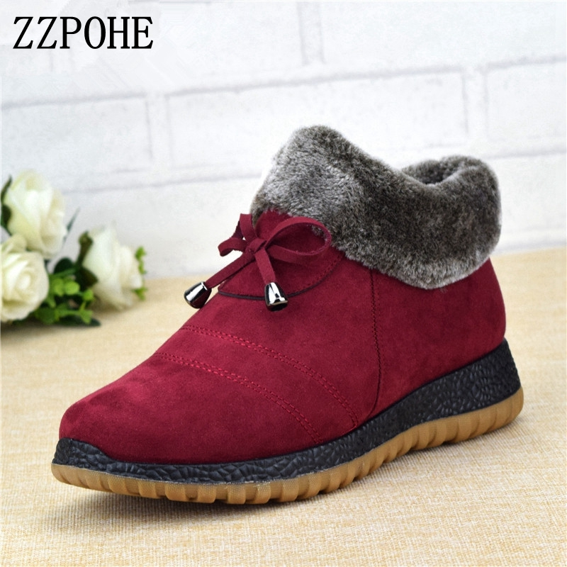ZZPOHE Women Winter New Fashion Ankle Flat Boots Mother plus warm cotton shoes elderly Soft Comfortable Snow Boots free shipping
