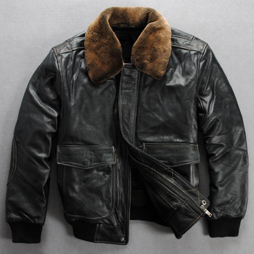 Real fur collar genuine leather jacket men black cowskin winter leather coat  men clasic flight jacket - Popular Mens Bomber Jackets With Fur Collar-Buy Cheap Mens Bomber