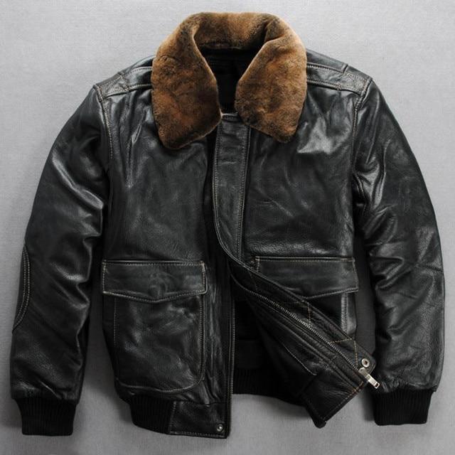 d9e81770481 Real fur collar genuine leather jacket men black cowskin winter leather  coat men clasic flight jacket men s casual bomber jacket