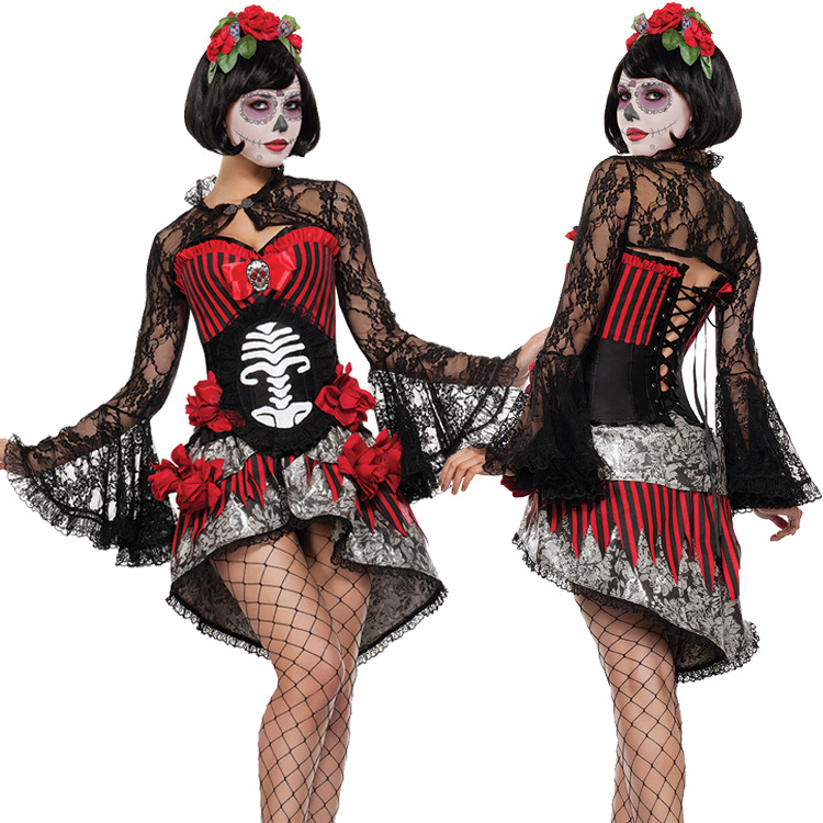 Ladies Day Of The Dead Skeleton Bride Costume Halloween Mexican Fancy Dress