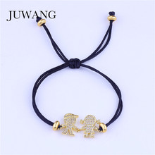 JUWANG Boy and Girl Charm Bracelet for Women Kids Cubic Zirconia Paved Lucky Red String Adjustable Jewelry Wholesale