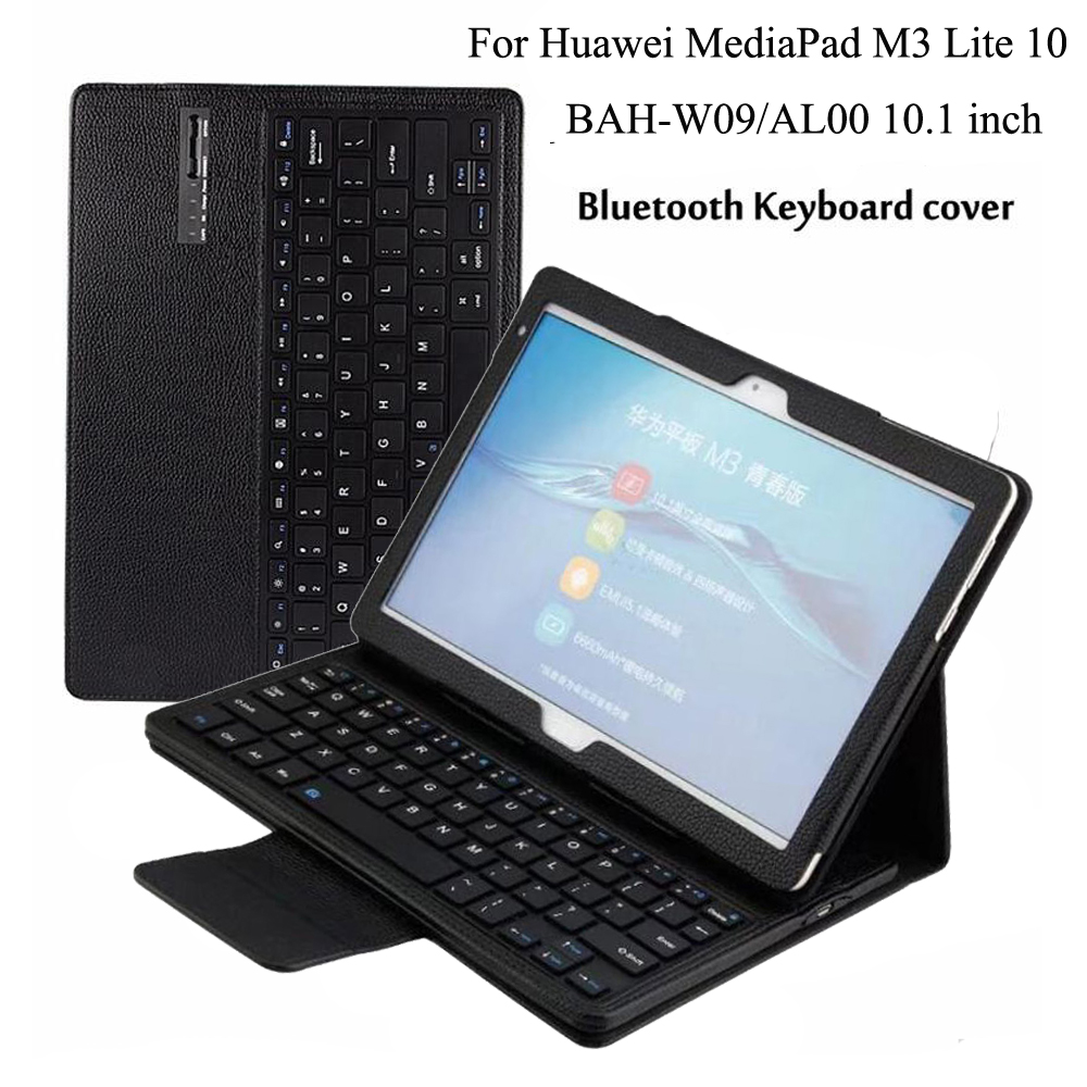 Wireless Bluetooth Keyboard PU Leather Cover Protective Case For Huawei Mediapad M3 Lite 10 BAH-W09/AL00 10.1