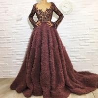 Brown Muslim Evening Dresses 2018 A line V neck Long Sleeves Lace Beaded Islamic Dubai Saudi Arabic Long Formal Evening Gown