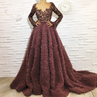 Brown Muslim Evening Dresses 2018 A line V neck Long Sleeves Lace Beaded Islamic Dubai Saudi Arabic Long Formal Evening Gown