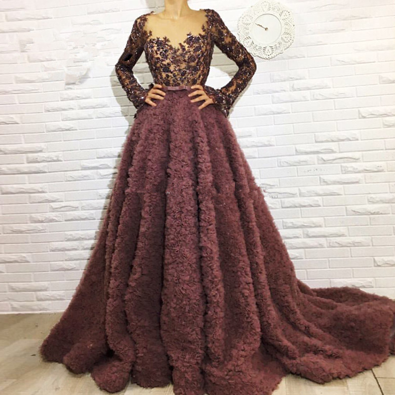 Brown Muslim   Evening     Dresses   2019 A-line V-neck Long Sleeves Lace Beaded Islamic Dubai Saudi Arabic Long Formal   Evening   Gown