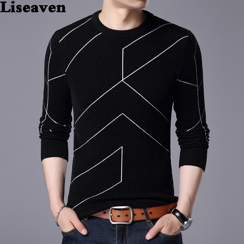 Liseaven Men Winter Warm Pullovers Mens Knitted Sweaters Cashmere Wool Pullover Men Casual Striped Sweater Men O-Neck Pull Homme