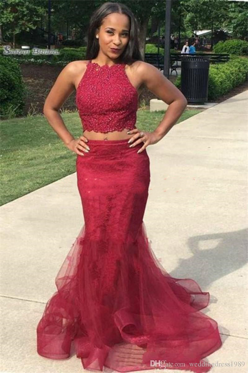 Charming Two Pieces Lace African   Prom     Dresses   Beads Mermaid Plus Size Robe De Soiree Evening Gowns Special Occasion   prom     dress