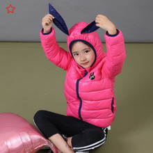 2018 new fashion children's feather cotton clothing rabbit ears children's clothing thin hooded boys and girls children's jacket