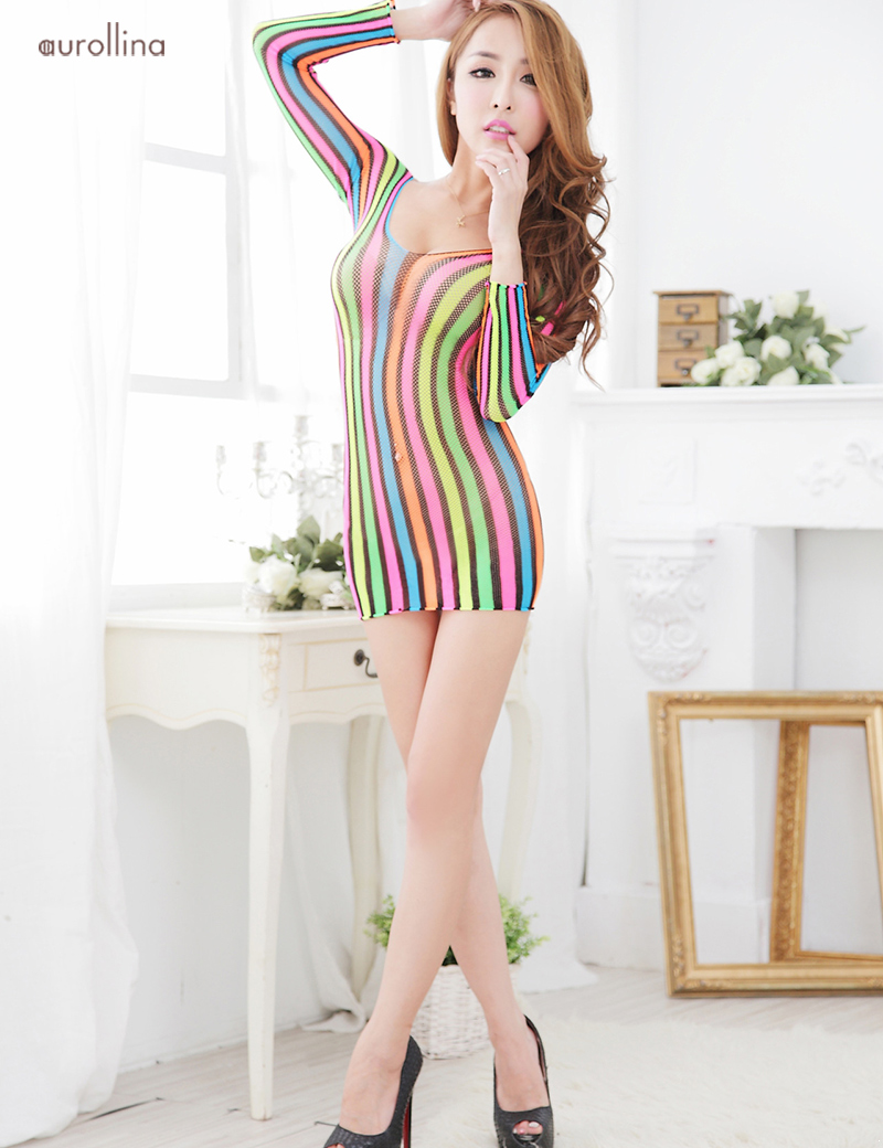 New-Fashion-Bodystocking-Sexy-Babydoll-Rainbow-Color-Deep-V-Nylon-Lingeries-Woman-Fashion-Dress-Uniform (2)