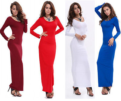 Ladies Womens Long Sleeve Plain Stretch Summer Fitted Bodycon Maxi Dress 73310c11f