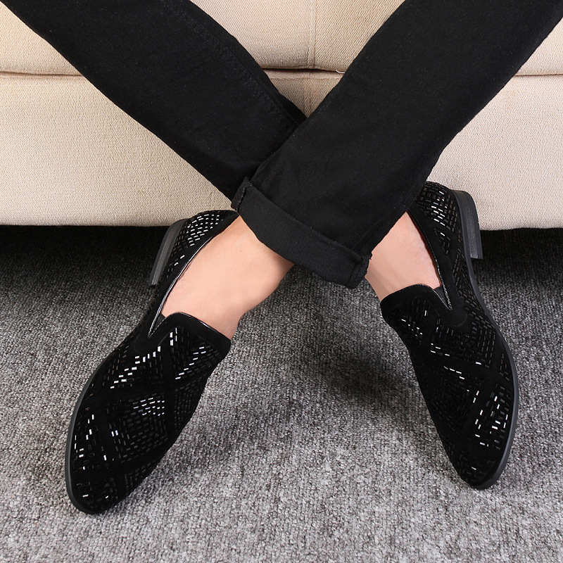 M anxiu Luxury Rhinestone Men Loafers Handmade Leather Pointed Toe Wedding Shoes Fashion Casual Men's Dress Shoes