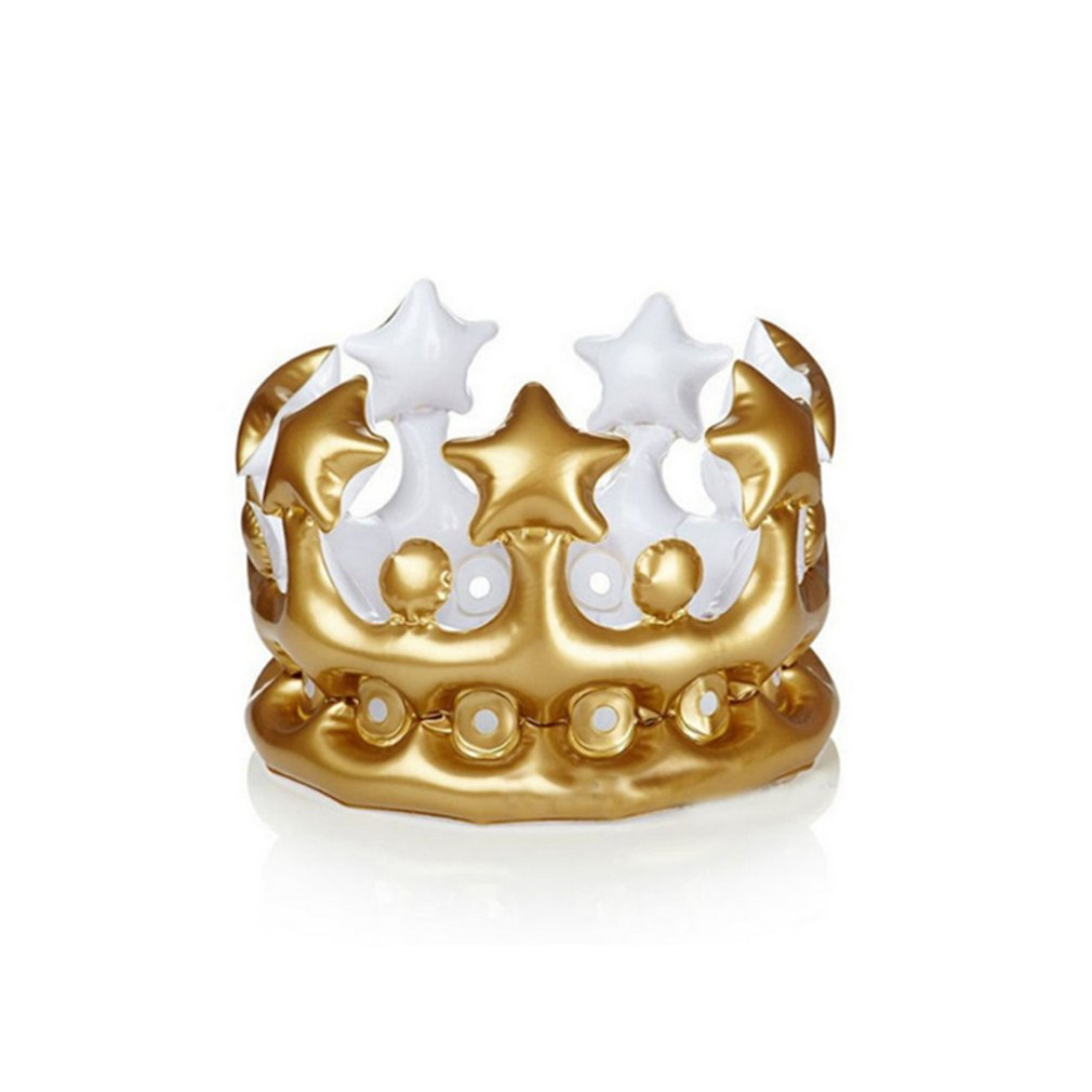 Children's Gold Pvc Inflatable Crown Party Crown Birthday Party Hat Baby Shower Toy Photography Props