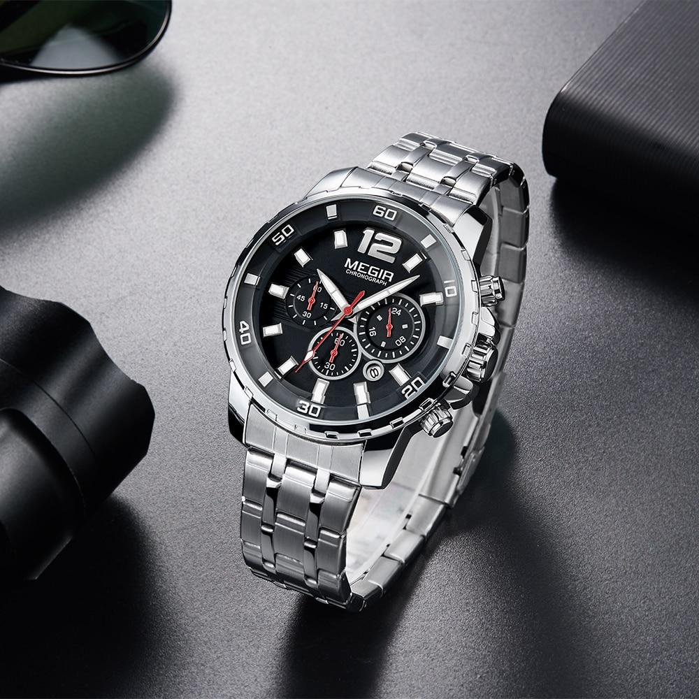 MEGIR Chronograph Quartz Men Watch Top Brand Luxury Army Military - Zegarki damskie - Zdjęcie 4