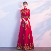 Summer 2019 Elegant Dress Red Women Stand Flare Sleeve Celebrity Lace Floor Length Sexy Fashion Bodycon Dress Evening Party