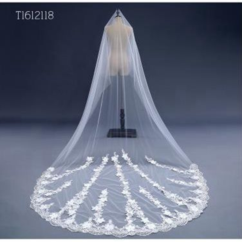 Free Shipping Real Photos 3M White Ivory Wedding Veil Long Bridal Veil Head Veil Wedding Accessories