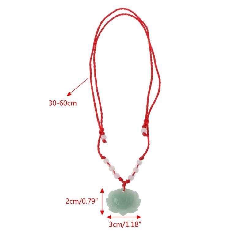 Натуральный зеленый камень ожерелье в форме лотоса Мода Счастливый Шарм ювелирные изделия