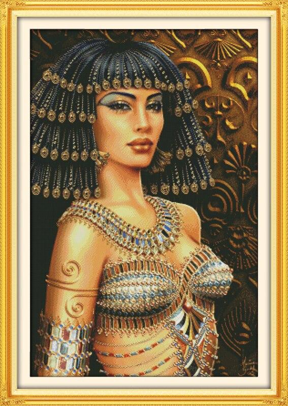 Ev ve Bahçe'ten Paket'de Kleopatra Baskı Çapraz dikiş kitleri Nakış İğne Seti Baskılı Tuval DMC Sayılan baskılı Çapraz dikiş seti Ev Dekor'da  Grup 1