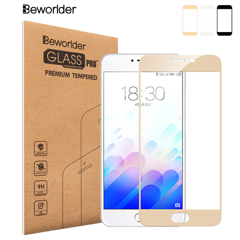 Beworlder For MEIZU M5 Tempered Glass Screen Protector Full Cover Protective Film For Meizu M 5 S Full Glass Color Edge