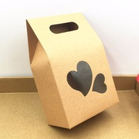 10 6 16cm Love Wedding Kraft Paper Gift Bags Boxes Paper Brown Stand Up Window For