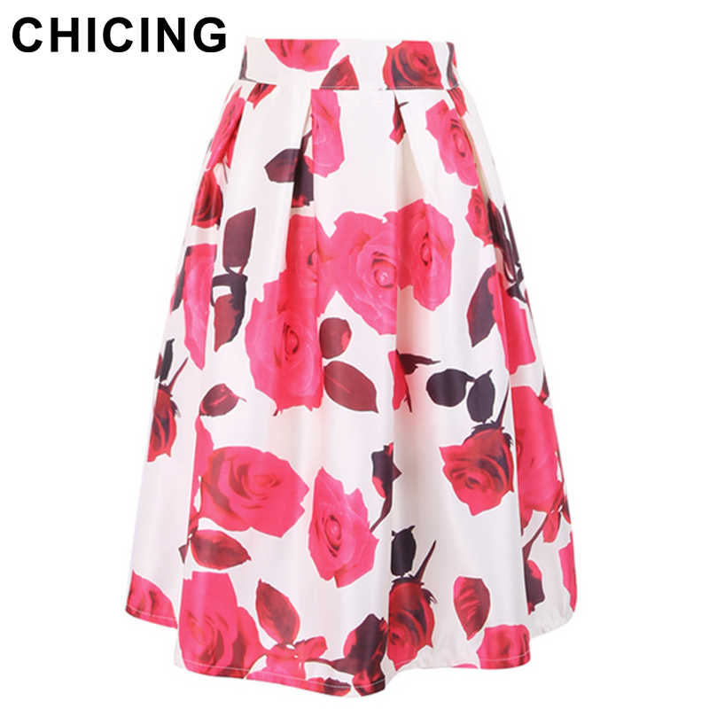 Detail Feedback Questions about CHICING Fashion Vintage Roses Floral Print  Midi Skirts Women 2018 Ball Gown Stretch Empire A Line Ladies Skirt Saias  ... 0fbb101fc4b5