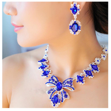 Jewelry-Set Earrings Crystal Necklace Wedding-Dress Gifts Bridal And Austrian Youfir