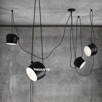 Nordic небольшой Барабаны люстра свет светильник белый/черный один Droplight кафе Кофе магазины Ресторан Лампы для мотоциклов висит Освещение