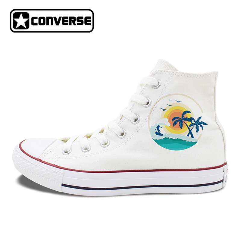 High Top White Black Converse Design Summer Style Sea Beach Sunshine Palm Tree Surfing Unique Canvas Sneakers ...