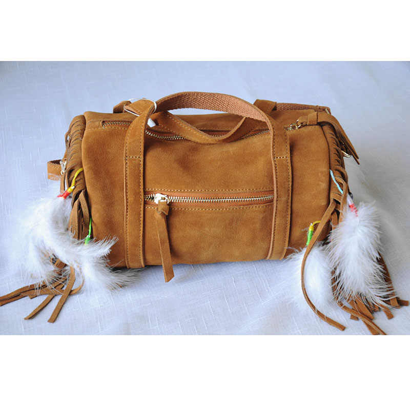 379a48066612 Коричневые женские сумки из натуральной кожи Винтаж замши бисер кисточкой  белые перья Бостон сумка хиппи Bolsos