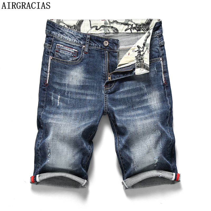 AIRGRACIAS 2019 Summer New Men's Stretch Short Jeans Fashion Casual 98% Cotton High Quality Elastic Denim Shorts Brand Clothes