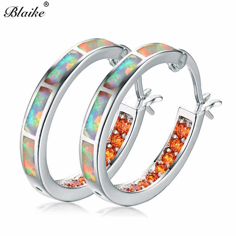 Detail Feedback Questions about Blaike White Fire Opal 925 Sterling Silver  Filled Jewelry Fashion AAA Orange Rhinestones Hoop Earrings For Women  Engagement ... f8ba9ffc7cb9