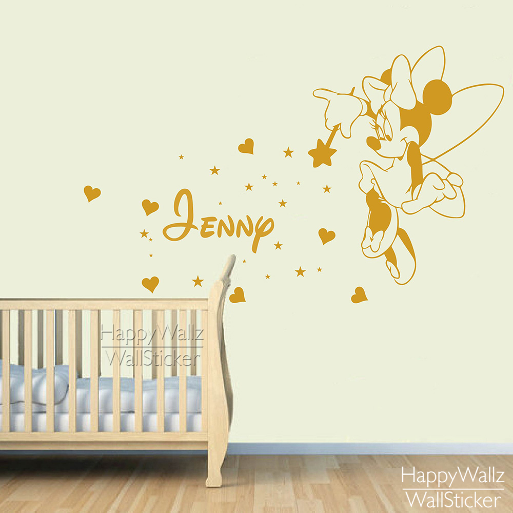 Mini mouse name wall sticker diy baby nursery custom name wall mini mouse name wall sticker diy baby nursery custom name wall decal kids room children name wall decor baby nursery name 558c in wall stickers from home amipublicfo Choice Image