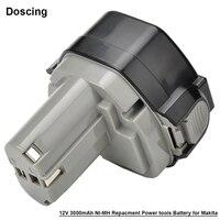 Doscing For Makita 12V 3000mAh Ni-MH Power Tools Battery 192681-5 Cordless for Drill PA12 1050D 8413D 1233SB 1235 1235A 1235B
